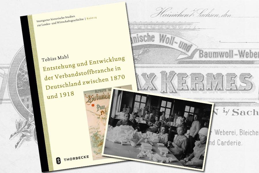 Bild aus der Produktion 1913 in der Firma Max Kermes auf der Rückseite des Buches